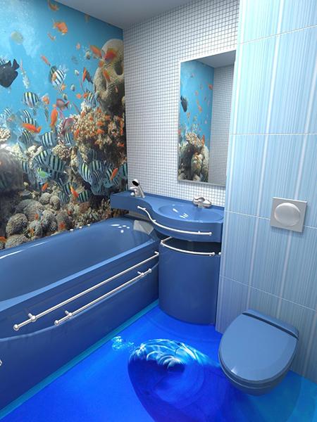 Salle de bain avec sol 3D